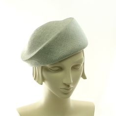 Straw Beret Hat for Women - Handmade Fashion Hat - Light Blue Straw Hat