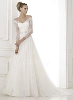 Wedding Dresses - $199.95 - A-Line/Princess V-neck Off-the-Shoulder Court Train Tulle Wedding Dress With Beading (0025087089)