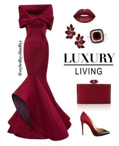 featuring Monique Lhuillier, Judith Leiber, Lime Crime, Christian Louboutin and Effy Jewelry Lila Outfits, Mode Outfits, Classy Outfits, Dress Outfits, Fashion Dresses, Spring Outfits, Elegant Dresses, Pretty Dresses, Beautiful Dresses