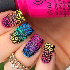 Lisa Frank fades, sunset skies, glitter gradients, and more ombré nail ideas. Cute Acrylic Nails, Cute Nail Art, Cute Nails, Pretty Nails, Nail Polish Designs, Cool Nail Designs, Hair And Nails, My Nails, Lisa Frank