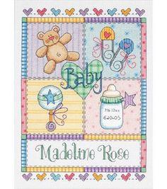 Dimensions Baby Hugs Baby Square Birth Record Cntd X-Stitch Kit & counted cross stitch kits at Joann.com