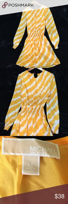"""🌎 Michael Kors Mini Dress Very beautiful MK mini Dress. Bright yellow color and white. Shoulder to knee is about 32"""". Price negotiable. Please make an offer. Michael Kors Dresses Long Sleeve"""