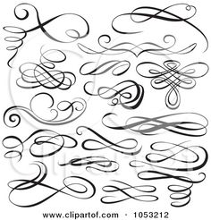 Royalty-Free Vector Clip Art Illustration of a Digital Collage Of Black And White Ornate Calligraphic Design Elements - 1 by dero