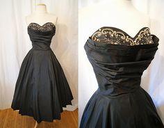 Chic 1950's black taffeta new look strapless by wearitagain, $398.00