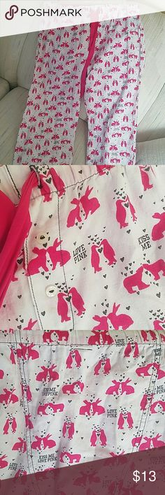 Cute!!!  PINK PJ Bottom - small Draw string comfy pants with PINK bunnies and polar bears and penguins kissing!!    Muah...  Very minimal wear  Look new - very cute PINK Victoria's Secret Intimates & Sleepwear Pajamas