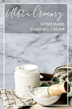Both women and men will love this ultra creamy homemade shaving cream recipe. With quality ingredients, easy to make, and effective.you'll fall in love! Homemade Shaving Cream, Homemade Skin Care, Diy Skin Care, Homemade Beauty, Homemade Toys, Diy Beauty, Beauty Tips, Beauty Recipe, Cream Recipes