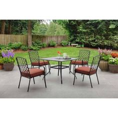 Red 5 Piece Patio Dining Set Chairs Square Table Backyard Outdoor Furniture #Mainstays