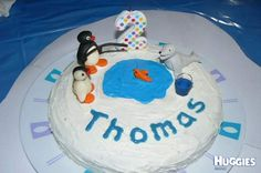 I made this cake for my son Thomas's second birthday as he loves the TV show Pingu. It also shows Pingu's little sister Pinga and his friend Robby.