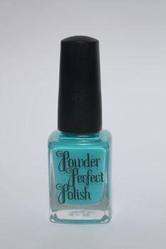 Sand In My Sunscreen - Aussie Indie Polish - bright aqua creme polish! Powder Perfect Nail Polish  by PowderPerfect, $9.50