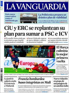 Los Titulares y Portadas de Noticias Destacadas Españolas del 14 de Enero de 2013 del Diario La Vanguardia ¿Que le parecio esta Portada de este Diario Español?