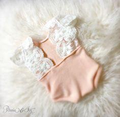 Newborn Peach Lace Romper baby girl jumper by PetuniaandIvy
