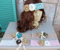 Burlap and lace Headbands / hair accessories / lace head bands in assorted colors, camo, turquoise, aqua, pink, black burlap flowers, rustic by GypsyFarmGirl on Etsy