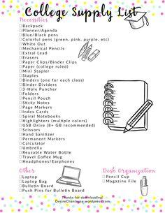 Ultimate College Supply List Checklist Printable | Desire Chanteuse Blog