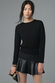 leatherette skirt and cable knit