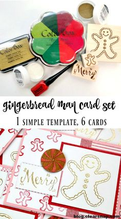 Gingerbread Man Card Set by Dana Tatar for Clearsnap. Follow 1 simple template to quickly create 6 cards that feature hand-stamped and embossed papers.