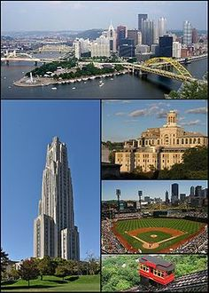 1. Pittsburgh skyline  2. Cathedral of Learning at the University of Pittsburgh  3. Carnegie Mellon University  4. PNC Park  5. Duquesne Incline