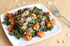 Wild rice and kale salad with smoky sweet potatoes - such amazing autumnal flavours!