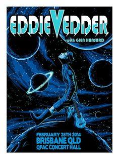 Eddie Vedder Brisbane Brandon Heart Poster Night 3 World Premiere Exclusive