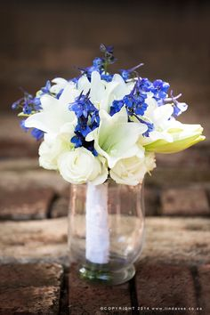 White & Blue bouquet. www.lindavos.co.za Wedding Photos, Wedding Day, Blue Bouquet, Travel Couple, Bridal Bouquets, Table Decorations, Photography, Beautiful, Marriage Pictures