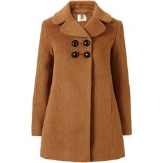 Orla Kiely Teddy Bear Wool Peacoat (€240) ❤ liked on Polyvore featuring outerwear, coats, jackets, coats & jackets, camel, wool peacoat, brown pea coat, camel pea coat, a-line coat y double breasted woolen coat