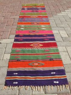 "Turkish Handwoven Kilim Natural Wool Rug Carpet 90 1"" x 20 4""   eBay"