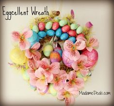 Decorate your home for Easter with this fun and so pretty Easter Egg Wreath.