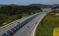 Bike lane down center of Korean highway is covered with solar panels | Solar panels generate electricity while shading the cyclists as they ride.