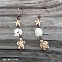 """Seashell, turtle and starfish earrings - by Rum Cay Island Jewelry 10% off with coupon code """"pinterest"""""""