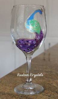 Hand-painted Peacock Wine glass embellished with Swarovski Crystals.