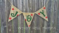 JOY Burlap Banner Christmas Holiday Decoration