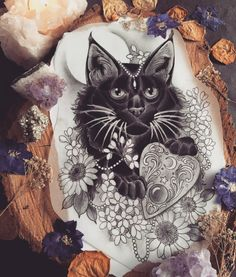 My Saturday is going to be a great one because I get to tattoo this I do realise I've posted an abundance of cat designs recently which I'm not sorry for at all More