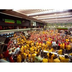 Business executives on trading floor Chicago Mercantile Exchange Chicago Cook County Illinois USA Canvas Art - Panoramic Images (27 x 9)