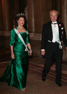 Official Dinner at the Royal Palace in Stockholm 20 November 2014: Queen Silvia of Swede & King Carl XVI Gustaf of Sweden at a formal dinner served in the Gallery of Karl XI at the Royal Palace.