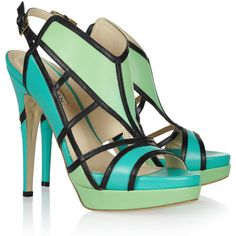 Burak Uyan Color-block cutout leather sandals ($399) ❤ liked on Polyvore featuring shoes, sandals, heels, zapatos, high heels, mint sandals, blue heel sandals, blue sandals, platform sandals and heeled sandals