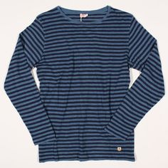 Armor Lux Breton Shirt Heritage Linen Blend Stripe Light Blue/Navy : SUNSETSTAR