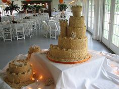 Sand Castle Cake & Satellites- back by creative mom-2-five, via Flickr  (Also shows some of the room decorations)