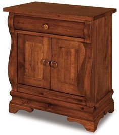 Amish Chippewa Sleigh One Drawer and Two Door Nightstand Elegant and romantic, the Chippewa features delightful curves and solid wood construction. Additional options include handy touch lighting for an instant nightlight, a pull out water tray and soft close drawers. #nightstands #frenchcountrybedroom