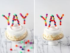 DIY Pom Pom Cake Topper - Momtastic Instead of pom poms, how about jelly beans? Unique Cake Toppers, Diy Cake Topper, Wedding Cake Fresh Flowers, Pom Pom Crafts, Sweet Cakes, Pretty Cakes, Dessert Recipes, Desserts, Let Them Eat Cake