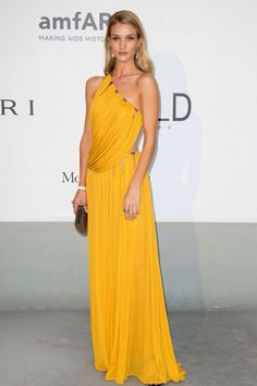 Rosie Huntington Cannes yellow dress