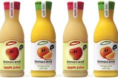 A similar packing design to the smoothies; continuation of colour identity, use of photography rather than illustration - makes it feel like it's aimed at a slightly higher age range and separates it as a different product range from the smoothies - logo incorporated throughout, ridges on bottle mimic the label shape (continued from smoothie labels)