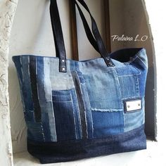Recycled Denim, Recycled Fabric, Kimono And Jeans, Hong Kong Fashion, Recycle Jeans, Love Jeans, Denim Bag, Fabric Bags, Handmade Bags