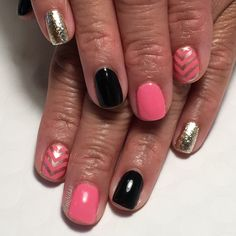 Pink, black & gold chevron gel manicure. See more of my designs on my nail board @jgchef13 or my IG account @jgchef13.