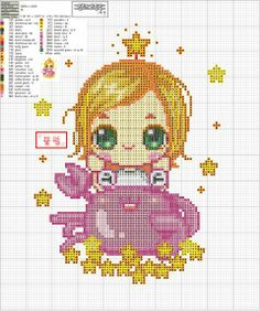 Zodiac Baby Cancer Cross Stitch Pattern 2/2