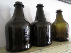 Antique Glass Bottles, Bottles And Jars, Glass Jars, Black Glass, Squat, Onion, Primitive, Collections, Glass