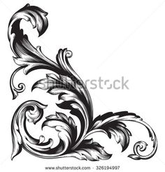Similar Images, Stock Photos & Vectors of 34 design elements - 126974498 - Vintage baroque frame scroll ornament engraving border floral retro pattern antique style acanthus f - Filigrana Tattoo, Elements Of Art, Design Elements, Tattoo Crane, Baroque Frame, Vintage Style Tattoos, Engraving Art, Filigree Design, Scroll Design