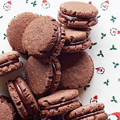 Minty Cocoa Fudge Sandwich Cookies from @bhg