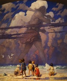 A very imaginative painting by N.C. Wyeth, entitled Giant