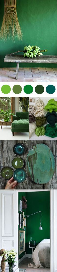 Colour palette inspiration for decorating your home with Pantone's 2017 colour of the year, 'Greenery'.