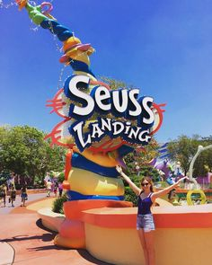 Enter the world of Dr. Seuss at Universal's Islands of Adventure! In Seuss Landing, you'll find popular attractions including Caro-Seuss-el, The High in the Sky Seuss Trolley Train Ride, The Cat in the Hat, and One Fish, Two Fish, Red Fish, Blue Fish. (IG Cred: cosmopolitank) Disney World Planning, Disney World Vacation, Disney Vacations, Universal Studios, Universal Orlando, Disney World Tips And Tricks, Disney Tips, Disney World Birthday, Senior Trip