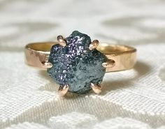 Solid Gold Rough Diamond Engagement Ring - Unique Personalized Engagement Ring - Hammered Gold Ring - Raw Diamond Ring - Rose Gold Rings Raw Diamond Rings, Unique Diamond Engagement Rings, Rose Gold Diamond Ring, Alternative Engagement Rings, Rough Diamond, Unique Rings, Diamond Cuts, Gold Rings, Solid Gold